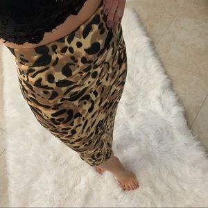Bebe High Waisted Midi Pencil Skirt Animal Print